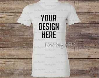 TShirt Mock Up White Woman's Crew Neck - Short Sleeve Shirt - Add your design to create a mock up - INSTANT Download