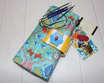 Circular Needle Case - Knitting Needle Case - Needle Storage - Knitting Supplies - Blue Needle Case - Dena Designs - Knitting Gifts