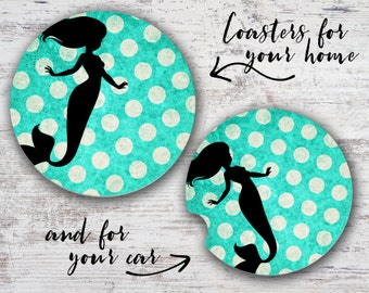 Mermaid Polka Dots Sandstone Home Coaster or Car Coaster