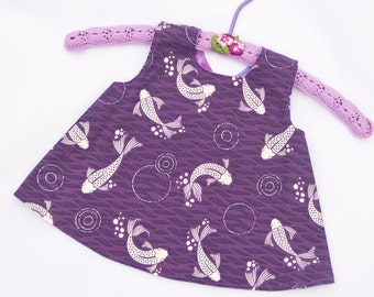 Reversible Crossover Dress,  Girls Apron Pinafore, Purple Fish size 3 - 9 months