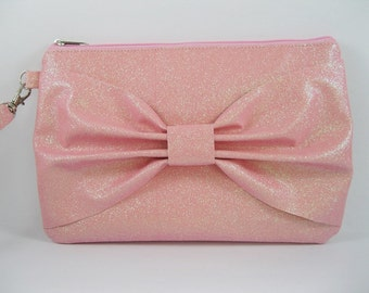 SUPER SALE - Pink Glitter Bow Clutch - Bridal Clutch, Bridesmaid Clutch, Wedding Clutch, Wedding GIft - Made To Order