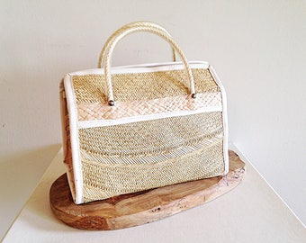 Vintage Boxy Straw Beach Bag Summer Tote Purse
