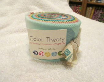 Color Theory Junior Jelly Roll with  Rainbow Ombre Fabrics by V and Co for Moda with 24 strips