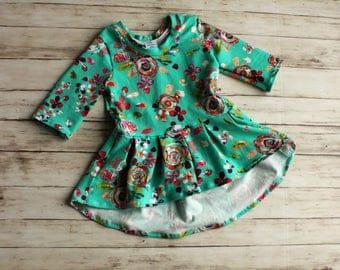 Girl Peplum top, Flower Girl Dress, Girl Spring Dress, Easter Outfit, Girls Top, Baby Dress, Maxi Dress, Hi low dress, Toddler Dress, Peplum