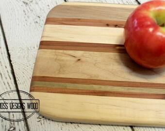 Wood Cutting Board Small, Handmade with 5 Wood Varieties, Bar Cutting Board, Fruit Cutting Board