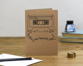 All you need is love Mix Tape valentines wedding anniversary Card brown kraft