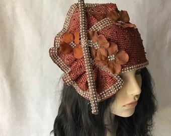 Brown Women's Church Hat, Brown Ladies Church hat, Brown Dressy Church hat, Brown Elegant Church hat, Fancy Church hats,Brown Hat for Church