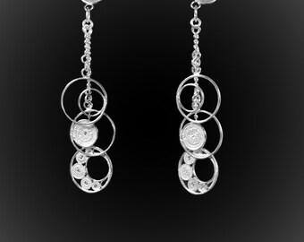 Earrings Milky in silver embroidery