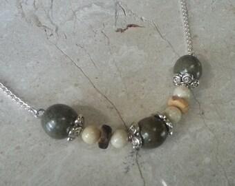 Memorial Bead Pendant Necklace - Custom Keepsake Stoneware Pottery Pet Cremains Jewelry - COCONUT BEACH Triple Swag Pendant with Chain