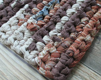 Upcycled - Rag Rug - Home Decor - Earth Tones - Thick Bath Mat - Rectangle - Machine Washable - Kitchen - Bathroom - Rustic Home - Office