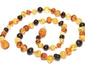 Colorful Baltic Amber teething necklace for babies - Safety Knotted - Shipping in USA