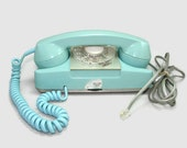 Turquoise Princess Phone, Working 1960s Rotary Dial Automatic Electric Aqua Blue Desk Telephone