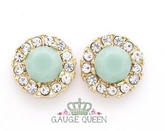 "Jade & Crystal Plugs / Gauges. 4g / 5mm, 2g / 6.5mm, 0g / 8mm, 00g / 10mm, 1/2"" / 12.5mm"