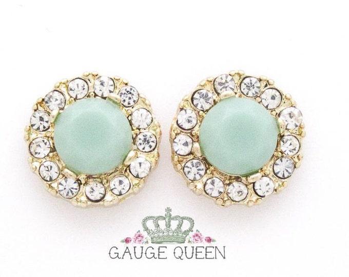 "Jade & Crystal Plugs / Gauges. 4g / 5mm, 2g / 6.5mm, 0g / 8mm, 00g / 10mm, 1/2"" / 12.5mm"