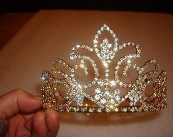 Beautiful Unique Style Gold And White Crystal Crown / Wedding Tiara