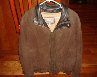 Vintage Genuine Leather Wilsons Mens Bomber Style Jacket With Zip Out Thinsulate Lining Size XL