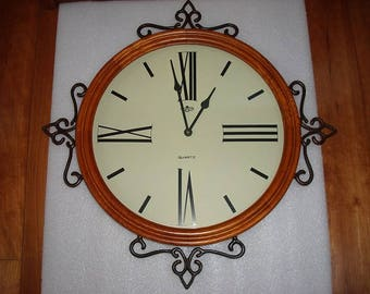 Large Wrought Iron And Wood D & A Quartz Battery Operated Wall Clock