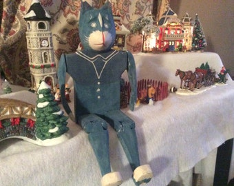 Vintage blue wooden articulated cat