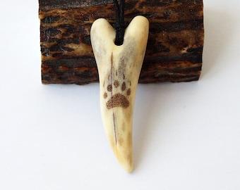Bear paw, Bear paw necklace, Bear print, Bear trace, Bear necklace, Bear jewelry, Antler necklace, Antler pendant, Antler fang, Claw