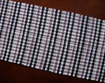 "12"" x 54""  Table Runner in Black, White, Lavender, and Cream Handwoven in Nicaragua"