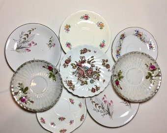 Mismatched Plates / 8 Vintage Pink & White China Plates for Plate Wall Hanging, or Serving at Showers, Tea Parties, Luncheons, etc.