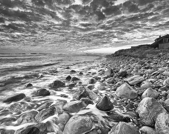 Black and White Beach Photography, Seascape Photo, Rhode Island Picture, Ocean Rocks Photograph, Large Black White Print, Oversized Sea Art