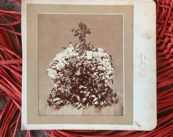 Antique Funeral Floral Arrangement Cabinet Card