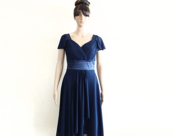 Navy Blue Bridesmaid Dress. Dress With Sleeves.