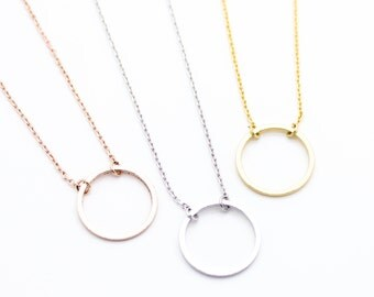 "Tiny Gold ""Eternity Circle"" Ring Necklace Karma Infinity - Dainty, Simple, Birthday Gift, Wedding Bridesmaid Gift"