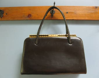 Classic 1950's Brown Leather Handbag Elbief England Purse Double Handle Suede Lining