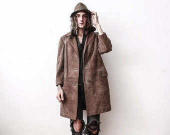 Vintage 1970s Brown Leather Coat Winter Warm Fleeced Fur Lining Boho Rustic Country