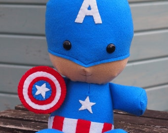 "Captain America Inspired Felt Cuddly Toy 33cm (13"")"