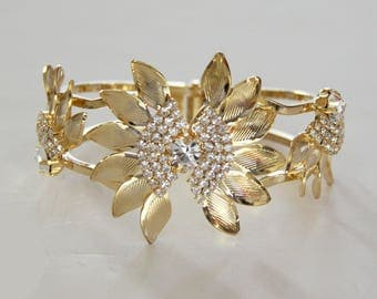 Gold Tone Rhinestone Bracelet - Large Prong Clamper Bracelet - Gold Tone Bold - Vintage