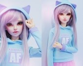 Slim MSD or SD BJD hoodie - Kawaii af cat ears