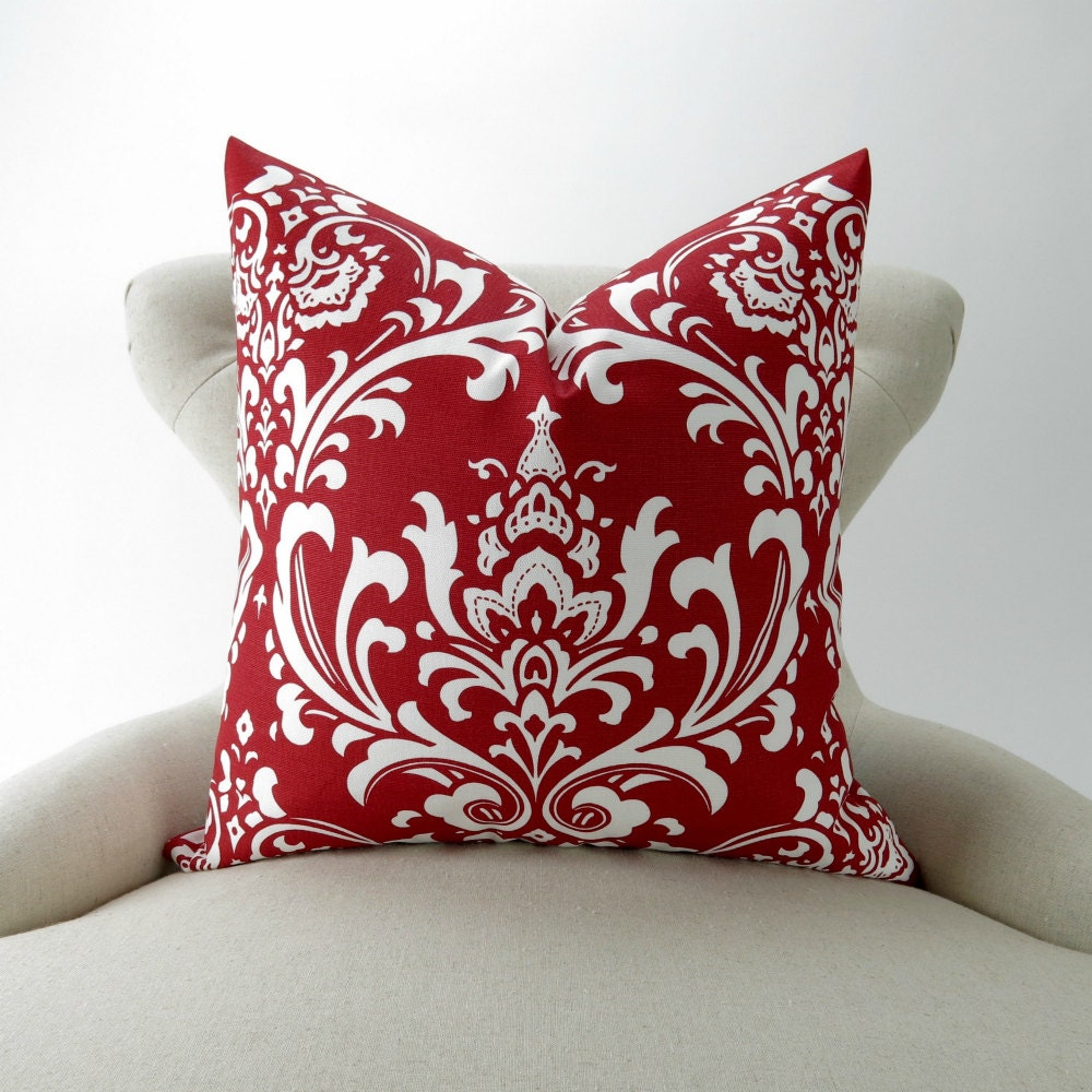 red damask pillow cover many sizes cushion euro sham. Black Bedroom Furniture Sets. Home Design Ideas