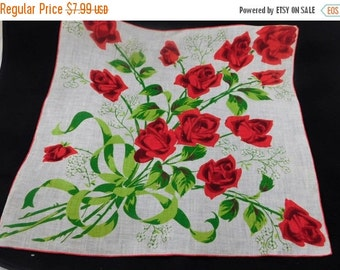 ON SALE Vintage Hankie with Bouquet of Red Roses H200