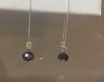 Sterling Silver Chain with Purple Crystal Stone Earrings