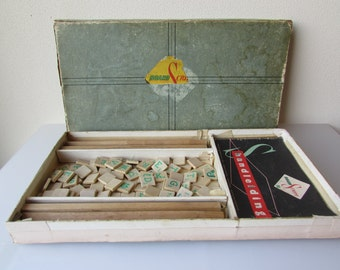 "Vintage ""Scrabble Game"" 1953, Complete Crossword Board Game Dutch made"