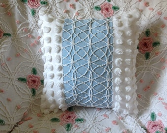 Vintage Chenille Pillow Cover in Blue and White Cabin Crafts