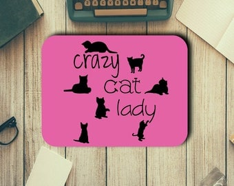 Crazy Cat Lady Neoprene Mouse Pad Novelty Gifts Home Office Decor