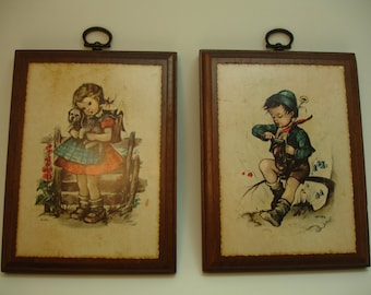 Woodcraftery Girl and Boy Plaques set, vintage 1970's, Hilde prints, wooden, quaint country scenes
