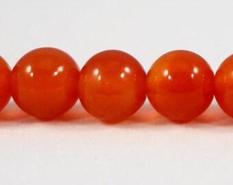 "Carnelian Stone Beads 6mm Round Carnelian Beads, Dark Orange Gemstone Beads, Natural Orange Stone Beads on a 7 1/4"" Strand with 31 Beads"