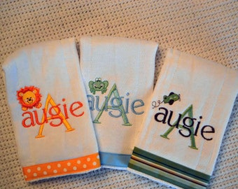 Set of 3 Personalized Monogrammed Burp Cloths for Him or Her