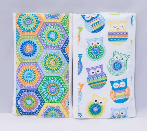 Set of 2 Cute Burp Cloths, Owl and Multicolored