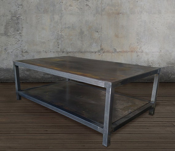 Coffee Table Welded Steel Industrial Metal By Atlaswoodco