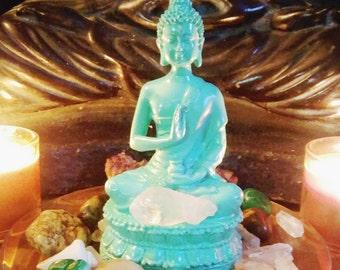 Buddha statue, Buddha figurine, meditation, spiritual altar, blue Buddha with stones