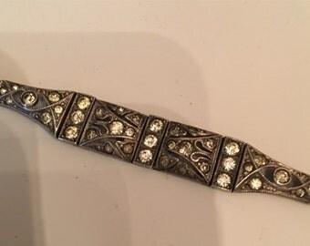 Vintage Art Deco 7 inch signed 1930s bracelet with stones