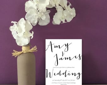 Script Wedding Invitation with matching items available