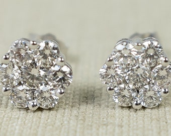 Classy Eye-Catching 14K White Gold Ladies 1.50ctw SI2/G Round Natural Diamond Flower Cluster Post Stud Sparkling Earrings FREE SHIPPING!