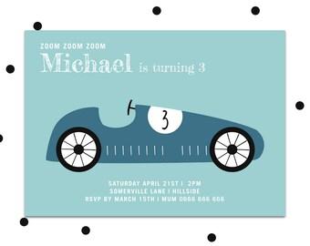 Boys party invite, Printable party invitation, boys first birthday party invitation, boys birthday invite, racing car invitation
